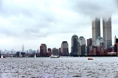 Twin Towers in the Clouds (joeclin) Tags: northamerica unitedstates usa newyork ny manhattan nyc cityscape outdoor color skyline ferry empirestatebuilding worldtradecenter twintowers amateur 1990s joelin joeclin