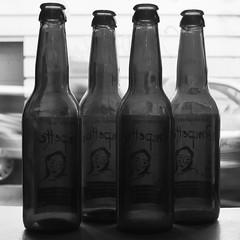 Pompettes (Ren-s) Tags: bouteille bottle bière beer noirblanc noir noiretblanc blackwhite blackandwhite black white bokeh 4 pompette bar pub fenêtre window olympus olympusm1442mmf3556iir empty vide brussels bruxelles belgique belgium belgian europe glass verre étiquette sticker projet52 project52 52 week15 semaine15 drink boisson alcool