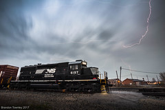 Lightning in Marion, Ohio (Brandon Townley) Tags: trains railroad ns norfolksouthern lightning clouds storm thunderstorm sd402 marion ohio