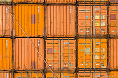 Orange it is. (wllmh) Tags: botlek pentaxk5ii industry rust container blue orange sigma70200mmf28exdgoshsm