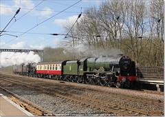 46100 'ROYAL SCOT' and Black 5 45407 work north through Huntingdon on 5Z60, March 21st 2017 c (Bristol RE) Tags: royalscot black5 46100 6152 45407 huntingdon 5z60 460 stanier fowler ivatt lms br britishrailways