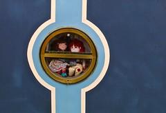 Rosie and Jim... (Kez West) Tags: rosieandjim dolls ragdolls smiles smilingobjects sunday window boat canalboat cute round blue toys childrenstelevision smileonsunday