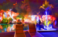 Stunning colours around the pool area on New Year's Eve Gala Dinner night (Neville Wootton Photography) Tags: art aureumpalacehotel burma colours holidays hotels impressions inlelake lightroom myanmar nightscapes onestoptraveltours pools sunbeds topazlabs