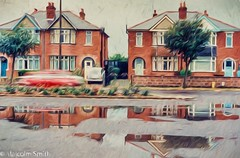 Past Reflections (M C Smith) Tags: houses water reflection cars trees pavement walls plants grass fences puddles