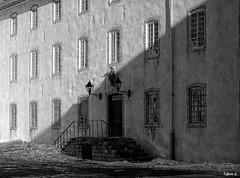 ... (Jean S..) Tags: facade balcony windows door snow shadows blackandwhite bw monochrome