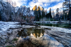 The Colors of Winter (JusDaFax) Tags: yosemite nationalpark california merced river reflection mountains forest water sky clouds winter travel wanderlust beach colors