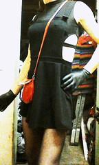 my new outfit what do you think? (Angel black 888) Tags: pantyhoes tv ts tg latexgloves lipstick handbag blackskirt headscarf fuckslut slag hooker prostitute
