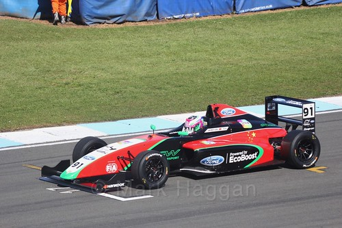 Liu Zhuangling in British F4 Race One during the BTCC Weekend at Donington Park 2017: Saturday, 15th April