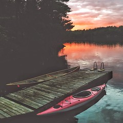Severn - Docked for the night (Dave Noyle) Tags: clouds cloud trees forest sunset lake river severn cottage dock boat boats canoe kayak summer 2016 ontario canada
