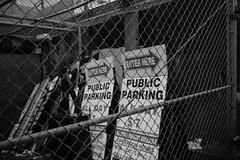 (rafael-castillo) Tags: sf sanfrancisco city urban blackandwhite bw public monochrome sign fence poster downtown cloudy parking sanfran sco frisco greyscale giantsparade