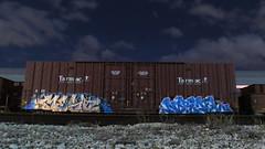 Mesah Normel (Stalkin The Lines) Tags: longexposure nightphotography railroad tarmac graffiti exposure railway trains nightshift motionblur freighttrains boxcar mesa trainyard hs afterhours openshutter freights lighttrail paintedtrains aok lightst