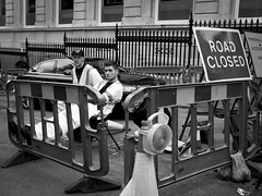 Road Closed (newton.nichola) Tags: life road street portrait monochrome work photography construction birmingham closed sitting break workmen roadworks lazy brum closure hivis