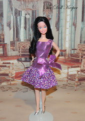 Vintage Snowprincess Barbie in Best Bow Dress (The doll keeper) Tags: black face silver shoes dress purple best bow lame mold superstar raven snowprincess