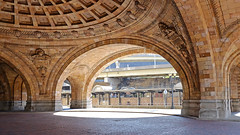 Pittsburgh- Under the dome, Union (Penn) Station (Thumpr455) Tags: city urban usa history architecture october pittsburgh fuji pennsylvania arches landmark dome fujifilm vault unionstation rotunda 1903 2014 beauxarts railroadstation danielburnham pennsylvaniarr xe2 xf1855mmf284rlmois