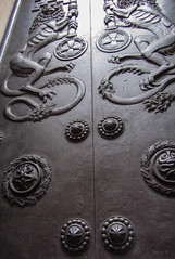 Interesting Door (Jocey K) Tags: uk england detail building london architecture bronze keys design doors unitedkingdom lions bankofengland hoildayeurope2012