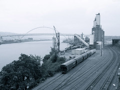 """Train yard beside Willamette River • <a style=""""font-size:0.8em;"""" href=""""http://www.flickr.com/photos/34843984@N07/15359465157/"""" target=""""_blank"""">View on Flickr</a>"""