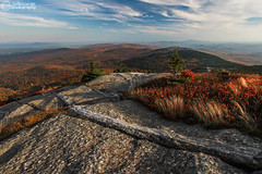 Cardigan Summit Rock Vein (rodeonexis - photography) Tags: autumn trees red orange mountain lake color fall texture alexandria grass rock clouds landscape newhampshire nh hills foliage hut vein amc firetower distant newfound