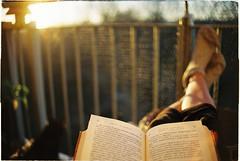 Sunday reading (Misiska) Tags: autumn sun film socks analog book nikon balcony sunday warmth f100 read dmparadise200