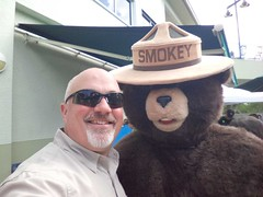 Rep. Matt Hudson poses with Smokey Bear at a FL Wildfire Prevention event