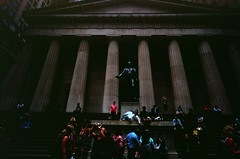 Federal Hall (varjagg) Tags: new leica york city nyc red usa statue hall diy downtown fuji manhattan august velvia 100 20mm f56 fujichrome federal m4 rvp 2014 kmz russar