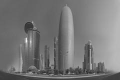 DOHA Panorama (Bony Nguyen) Tags: urban blackandwhite bw panorama skyline skyscraper sweet sw schwarzweiss doha urbanlandscape urbanlife quatar x100s