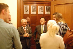 Mayor Ed Lee and Supervisor David Chiu (Kevin Krejci) Tags: sanfrancisco cityhall smiles government legalization shorttermrentals 140381 airbnb homesharing airbnblaw