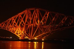 Wrong lens, but had a play (eLaReF) Tags: bridge night train south rail forth queensferry