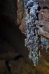 Stalagmite in one of the caves in Iceland