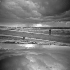 summer memories (Marcin Kubiak) Tags: sea sky bw film beach analog mirror blackwhite holga upsidedown opposite doubleexposure surrealism lofi dream surreal poland analogue mx 120mm multiexposure filmphotography rowy believeinfilm