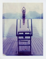(Matt Chalky Smith) Tags: france annecy polaroid diving lakeannecy polaroid195 iduv expired2005 roidweek