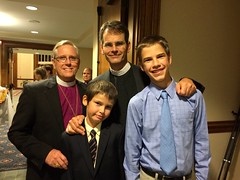Bp. John Miller with Bd Member Dr. Ross Blackburn and awesome sons at Archbishop's Investiture!