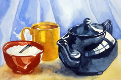 Still life with red kettle 01, by Gislaine - DSC09853 (Dona Mincia) Tags: stilllife food art cup yellow watercolor painting paper table arte tea drink comida spoon sugar alimento study mesa caneca pintura bule bebida ch aquarela colher naturezamorta redkettle aucareiro