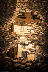 The world beneath our feet (Anthony P26) Tags: category inthestreets italy places rome street travel travelphotography italian streetphotography cobblestone puddle water rainwater goldenhour goldenlight evening house building narrow reflections reflection light shadow canon1585mm canon canon550d