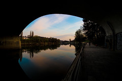 The Eye Of The River (Francesco Lurgo) Tags: mirror river water reflection landscape spring sky bluesky sunset dusk goldenhour clouds bridge inspiring turin torino italy italia po pontebalbis parcodelvalentino fiumepo orangeandteal silhouette contrast calm peaceful trees nature park citypark