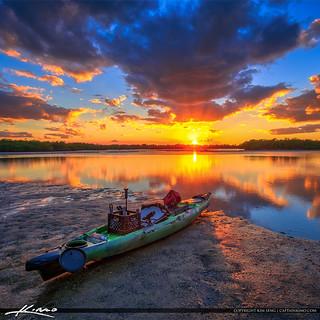 Kayak Fishing Lake Worth Lagoon Sunset Singer Island Florida Square