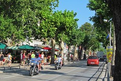 traffic in the town :) (green_lover) Tags: omiš croatia town street road trees traffic vehicle people motorcyclist vanishingpoint travels
