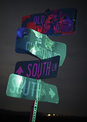 Street Signs (Notley Hawkins) Tags: rural missouri notley notleyhawkins 10thavenue httpwwwnotleyhawkinscom missouriphotography notleyhawkinsphotography lightpainting bluelight greenlight blue green night nocturne 光绘 光繪 lichtmalerei pinturadeluz ライトペインティング प्रकाशपेंटिंग ציוראור اللوحةالضوء abandoned longexposure ruralphotography chartitoncountymissouri red redlight rgb outdoor 2017 february riverbottoms missouririverbottoms signs streetsigns bulletholes