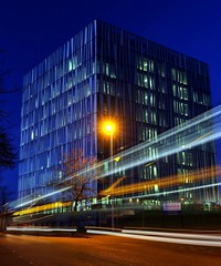 Light Trail at Aberdeen University Library (PeskyMesky) Tags: aberdeen aberdeenuniversity aberdeenuniversitylibrary le longexposure lighttrail night flickr scotland architecture