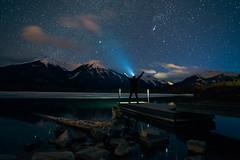 Vermillion Lakes (haas.evan) Tags: purple vermillionlakes canada banff banffnationalpark night stars mountains trees lake water ice dock