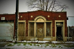 Out of Business (Explore!) (SCOTTS WORLD) Tags: adventure abandoned architecture america vignette trees texture detroit digital decay dilapidated december detail detroitderek windows michigan motown midwest motorcity highlandpark sky shadow winter weathered door 313 exploring empty entrance brick building brown blight light panasonic pov perspective urban usa unitedstates urbex urbanexploring urbandecay outdoors outside 2016 boardedup snow cold fun pole