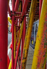 Scaffolding. (tubblesnap) Tags: red yellow scaffold scaffolding motorola motog3