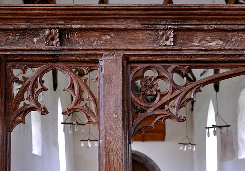 Culmington, Shropshire, All Saints' church, choir screen, detail