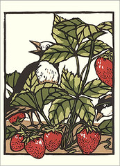 Strawberry and varied tit? (Japanese Flower and Bird Art) Tags: flower strawberry fragaria rosaceae bird varied tit sittiparus varius paridae yoshiko yamamoto modern woodblock print japan japanese art readercollection