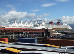 Canada Place Vancouver BC. (wessexman...(Mike)) Tags: vancouver canadaplace disneycruise port terminal clouds sea sky mountains rockies cruiseship