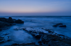 Monday Musings! (@the.photoguy (insta)) Tags: moonset earlymorning dawn bluehour longexposure sea ocean calm rocks outdoors blue silksmoothwater nature explore travel india landscape seascape weekend getaway maharashtra