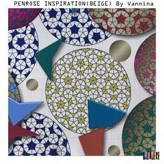 Penrose_Inspiration_Beige_Fabric_1500px (vannina_sf) Tags: penrose pattern spoonflower fabric math geometry circle gold golden texture tiles mathematics science paving tessellation