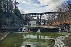 Normanskill - Two Bridges, a Dam, and a Waterfalls (hbickel) Tags: highdynamicrange hdr bridges railroadbridges dam waterfalls trees reflection clouds canont6i canon photoaday pad