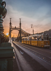 Sunset in Liberty bridge (Vagelis Pikoulas) Tags: sun sunset sunburst sunshine liberty bridge hungary travel europe budapest tram sky view city cityscape landscape street road canon 6d tokina 1628mm full frame 2016 autumn november