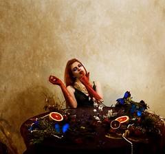 bacchae (abigailsclark) Tags: canon5dmkii 50mm leica decadent fairytale texture fashion blood gloves jewelry pearls citrus feast dark girl