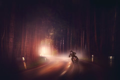 Speed Up! (Chrisnaton) Tags: motorcycle motorbike drive road surreal street wood light night biker speed curve rush acceleration speedup